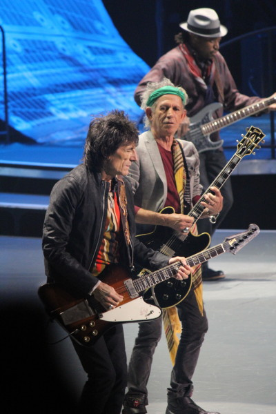 Rolling Stones guitarists Ronnie Wood and Keith Richards.